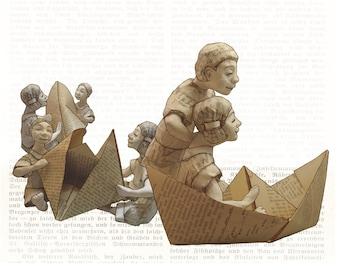 Postcard: folding paper boats