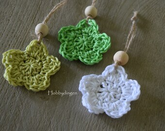 Flowers/Star ornaments Decoration Hangers Rope Wooden bead Pink Orange