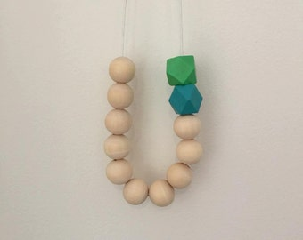 Wooden bead necklace // Round and geometric wooden bead necklace //hand painted wooden bead necklace // raw beads with aqua and green