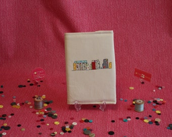 Free motion machine embroidered and appliqué embellished notebook cover depicting Stonehenge by Lotties Little Treasures