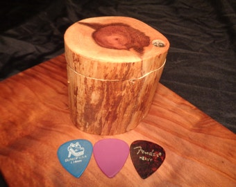 Wooden Guitar Pick Box, Guitar Pick case, Redwood Branch Rustic hard wood, Electric Guitar, Boyfriend gift, perfect Groomsman gift, Music