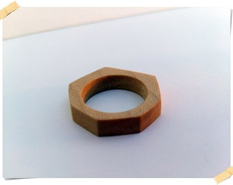 Wooden hand crafted ring made of maple,simple design, 100% natural, ring size 9