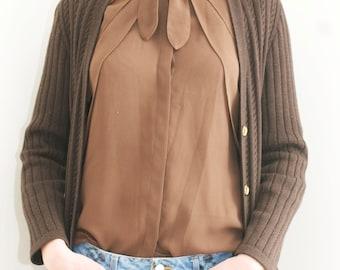 Brown tie blouse