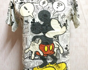 Vintage Mickey Mouse All Over Print Tshirt Adult Medium