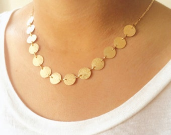 Satin Sparkly Gold Coin Necklace