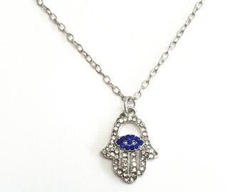 Hamsa Hand Necklace, Silver Hamsa Necklace, CZ Pendant