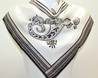 Vintage Paisley Scarf by Durlacher & Co Inc, Black Creamy White Fashion Accessory, MIJ