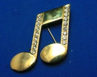 Vintage JJ Jonette Musical Note Rhinestone Crystal Pin Brooch