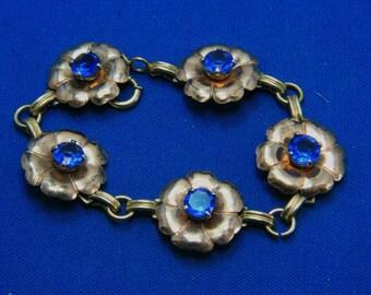 Vintage Harry Iskin Art Deco Sapphire Blue Rhinestone Gold Filled  Floral Bracelet