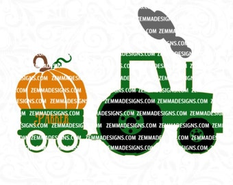 Tractor svg - pumpkin svg - harvest svg - boy svg files - tractor pumpkin svg - .SVG .EPS ,DXF - Zemma Designs