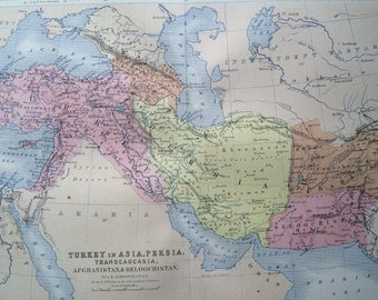 1859 Turkey, Persia, Afghanistan, Baluchistan Original Antique Map, 10.5 x 13.5 inches, historical wall decor, A K Johnson Atlas, Home Decor