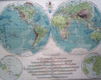 Ocean Depths Map Etsy - Map showing ocean depths