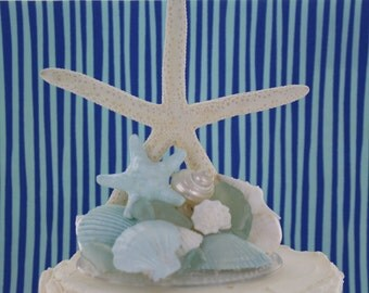 Starfish with Seashell and Sea Glass  Cake Topper/ Wedding Topper/ Beach Themed