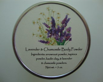 Lavender & Chamomile Body Powder, Body Powder, Powder, Talc Free Powder, Powder, Dusting Powder, Lavender, Chamomile,Bath Powder,Baby Powder