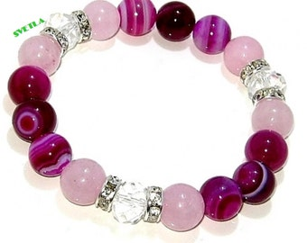10mm  Pink Agate Beads,Agate Beads Bracelet, 10mm Rose Quartz Beads, Quartz Beads, Zirconia Crystals, Czech Faceted Crystal Beads