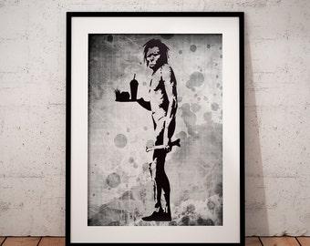 Banksy poster, Urban Art print, Graffiti art,  Banksy print, banksy stencil  art wall art