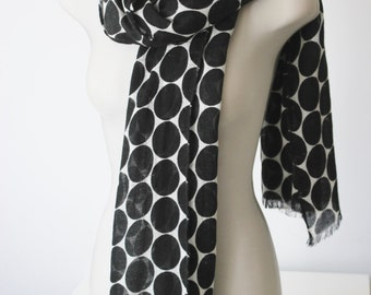 Linen Scarf, long scarf, polkadot scarf, black and white scarf,