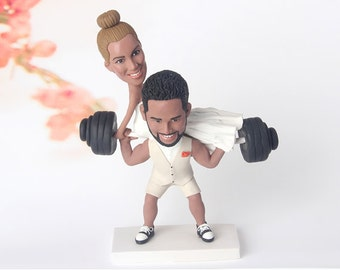 custom wedding cake topper, Custom Weightlifting cake topper, Funny wedding cake topper, Wedding Figurine