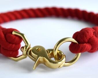 Custom Red Rope Dog Collar