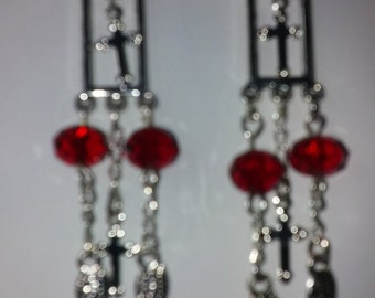 Sm. Red chandelier earrings