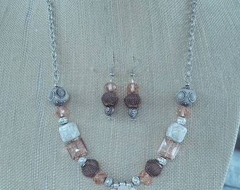 Copper,  Coral and Silver Necklace and earrings