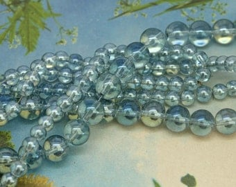 Blue Clear Translucent Blue Crystal Two Tone Round Beads  6 or 10 mm /Magic Bubble Beads / Blue Magic Glass Beads