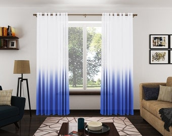 Modern Royal Blue Ombre Sheer Drapery Panels. Ombre Sheer Curtains. Pinch Pleat. Grommet Top. French Inverted Pleat. Rod Pocket Dr