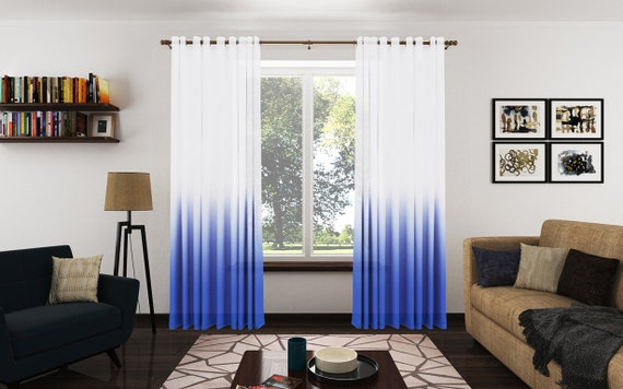 Blue Ombre Window Curtains: Items Similar To Modern Royal Blue Ombre Sheer Drapery