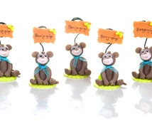 Set of 5 monkey to Capucakes handmade cake topper  polymer (cold porcelain) With or Without name