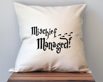 Harry Potter Mischief Managed Pillow Cover, 18 x 18 Pillow Cover, Harry Potter Decor, Harry Pitter Gift, Cyber Monday Sale