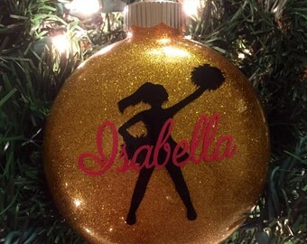 Cheerleader Glitter Ornament - Personalized Cheerleader Ornament - Cheerleader Ornament