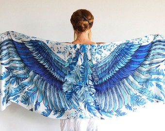 Silk Scarf, Wings Shawl, Gift for Her, Long Scarf, Wrap Scarf, Engagement Gift, Oversized Scarf, Art Scarf, Wings on Wraps, Silk Sarong