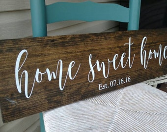 "Home sweet home sign, personalized with date 7 3/4x28"", rustic, home decor, calligraphy personalised wedding, housewarming, Christmas gift"