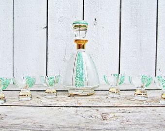 Karaffe mit 6 Gläsern Art Dèco Glaskaraffe Kristall Caraffe Likörset Dekanter