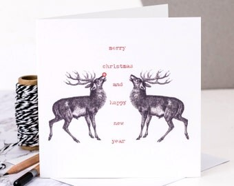 Christmas Card; Rudolph Christmas Card; Rudolph and Friend; Stag Christmas Card; Deer Christmas Card; GC202