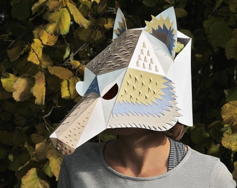 Wolf head mask with decor DIY Paper creation PDF pattern printable mask Animal head Best Costume make your own Wolf papercraft