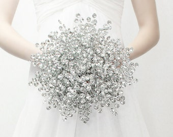 Wedding Bouquet - The Luxe Mirrored Bridal Bouquet - Wedding Dress Accessory - Fabulous Brooch Bouquet Alternative with Grooms Boutonniere