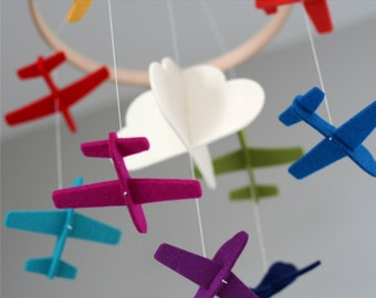 100% Merino Wool Felt Baby Mobile - Eco-Friendly - Rich, Lightfast Colors - Heirloom Quality - Rainbow Planes - Cloud Mobile
