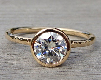 Forever Brilliant Moissanite Engagement Ring, Recycled 14k Yellow Gold Solitaire, Made To Order