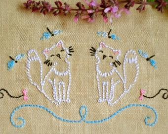 Embroidery pattern cat, hand embroidery patterns by NaiveNeedle