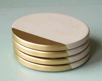 gold dipped concrete coasters