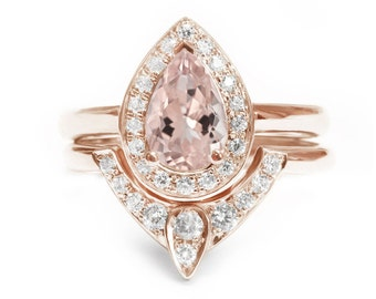 10% OFF Pear Morganite Engagement Ring with Matching Side Diamond Band - The 3rd Eye , Engagement and Wedding Ring Set  14K White Gold