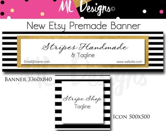 New Pre-made Size Etsy Shop Banner& Icon Stripe Chic Gold