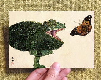 Postcard*Chameleon and Kamehameha Butterfly