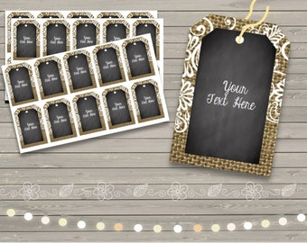 50% OFF SALE Burlap & Chalkboard {Editable} Gift Tags - Labels - Cards - Notes  - Printable -Weddings - Showers - Gifts - Organizing