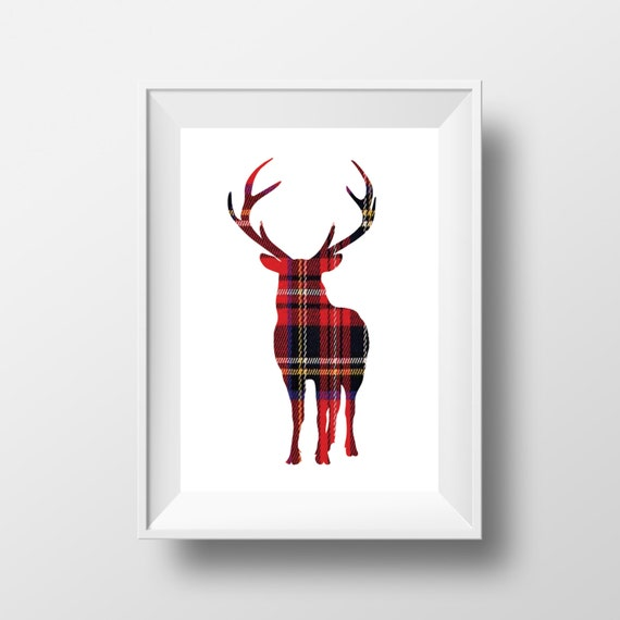 items similar to deer print plaid deer rustic wall art