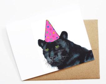 Birthday Card - Panther, Animal Birthday, Animal Card, Cute Greeting Card, Kids Birthday Card, Baby Birthday Card, Blank Panther Card