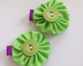 Hair accessories, fabric yoyo, grosgrain ribbon, alligator clips, hair clips, green hair clips, Green and Purple