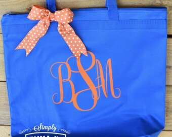 Large tote, Orange and blue, monogram, monogrammed tote