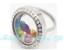 Stainless Steel 20mm Rhinestone Living Locket Ring Living Memory Locket for Living Memory Foating Charms Jewelry